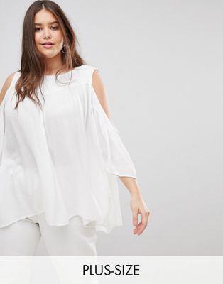 Koko Embroidered Cold Shoulder Blouse