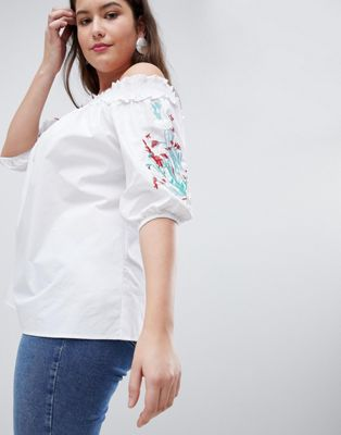 Koko Embroidered Sleeve Bardot Top