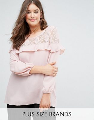 Koko Lace And Ruffle Detail Crepe Blouse