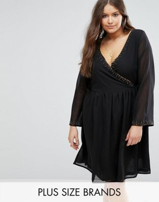 Koko Plus Skater Dress With Beaded Neckline