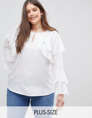 Koko Ruffle Detail Blouse With Flared Sleeves