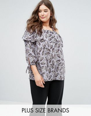 Koko Ruffle Double Layer Butterfly Print Bardot Top