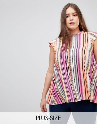 Koko Stripe High Neck Blouse