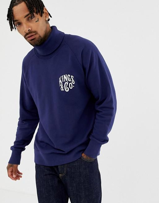 Økologisk navy sweatshirt med rullekrave fraKings Of Indigo