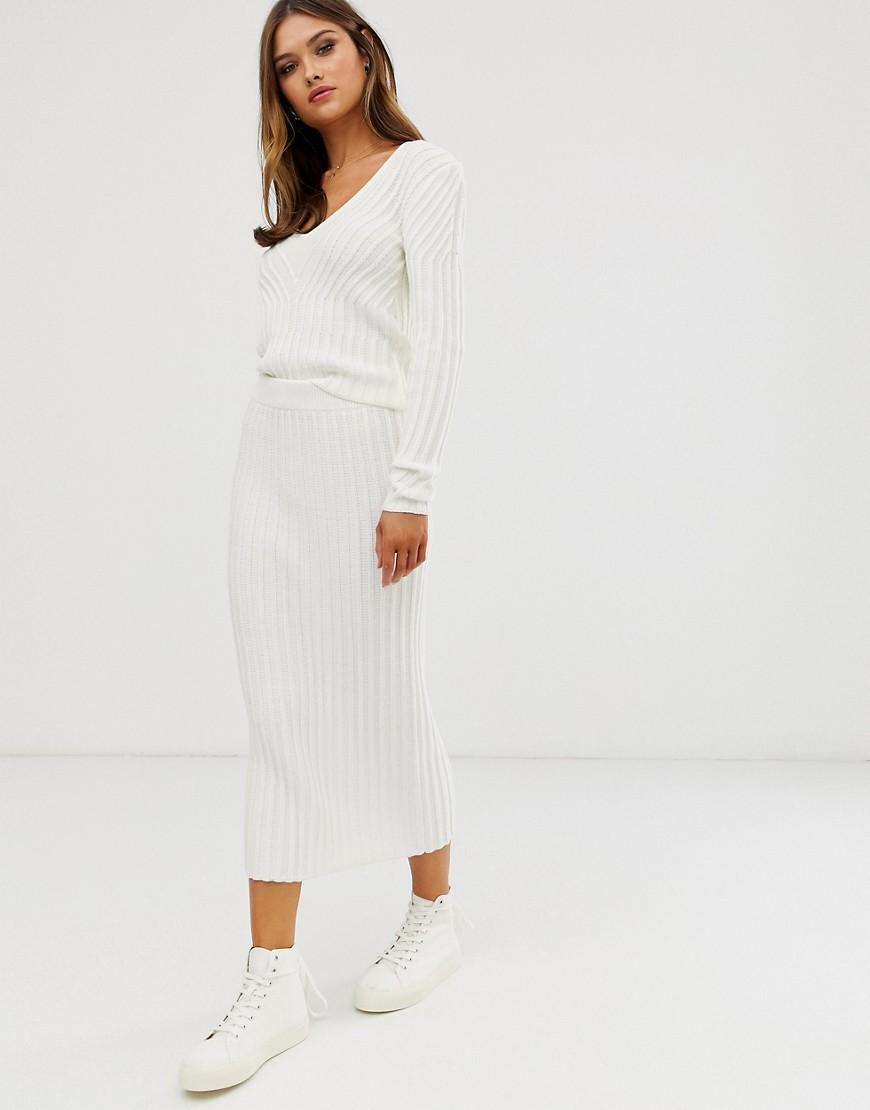 Комбинируемая трикотажная юбка в рубчик ASOS DESIGN-Кремовый
