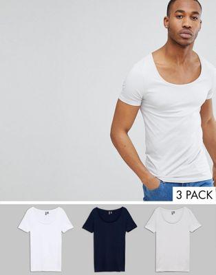 Комплект из 3 обтягивающих футболок с овальным вырезом ASOS DESIGN - Скидка