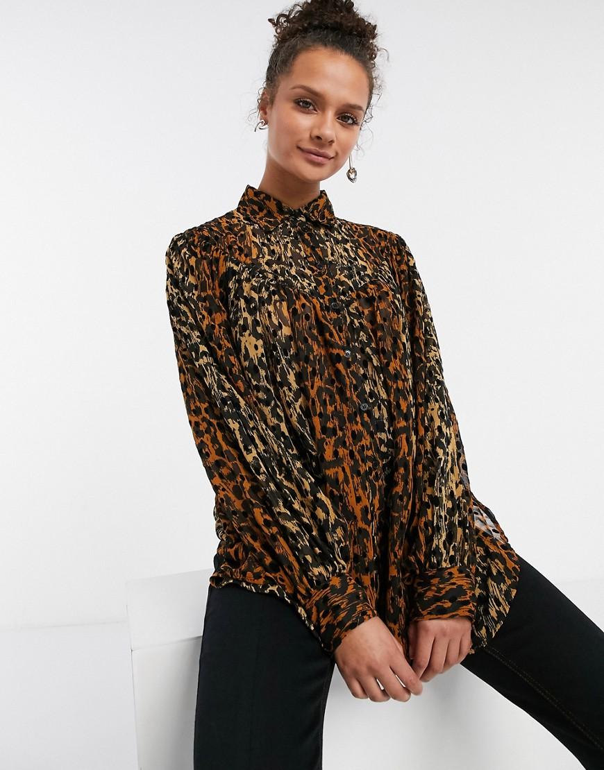 Коричневая блузка Topshop-Коричневый