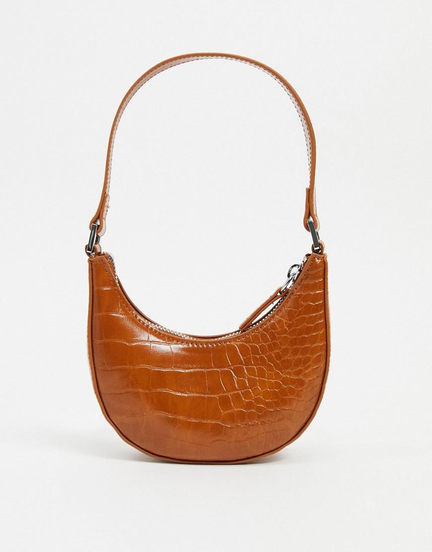 Коричневая маленькая сумка на плечо с эффектом крокодиловой кожиMonki-Коричневый