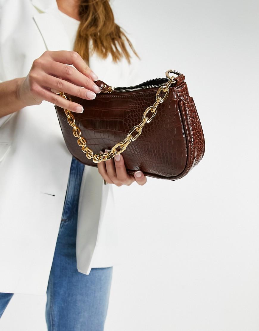Коричневая сумка на плечо в стиле 90-х с эффектом крокодиловой кожи и цепочкой My Accessories London-Коричневый