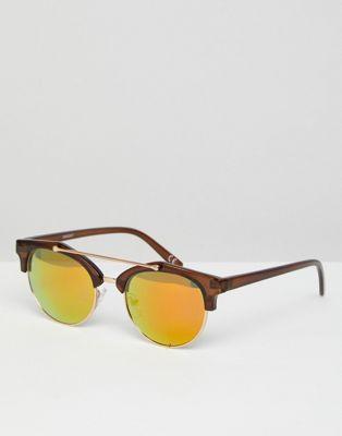 Коричневые солнцезащитные очки в стиле ретро с планкой сверху и золотистыми зеркальными стеклами ASOS