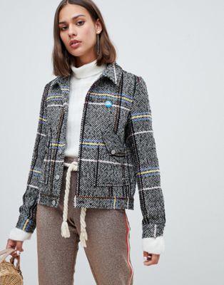 Короткая куртка в клетку из ткани с добавлением шерсти Maison Scotch