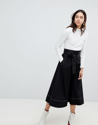 Kowtow Audition Midi Skirt with Contrast Stitching in Organic Cotton