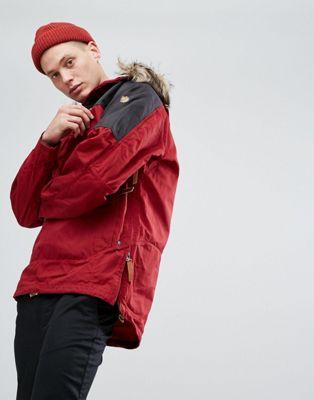 Красная куртка с искусственным мехом на капюшоне Fjallraven Singi