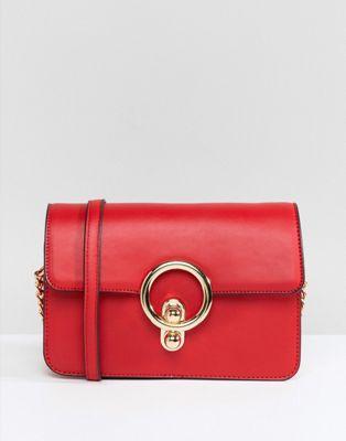 Красная сумка через плечо с кольцом Glamorous