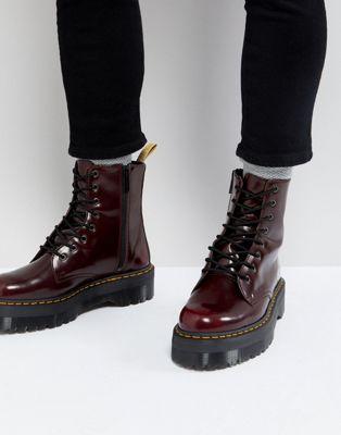 Красные ботинки на шнуровке Dr Martens Vegan Jadon II