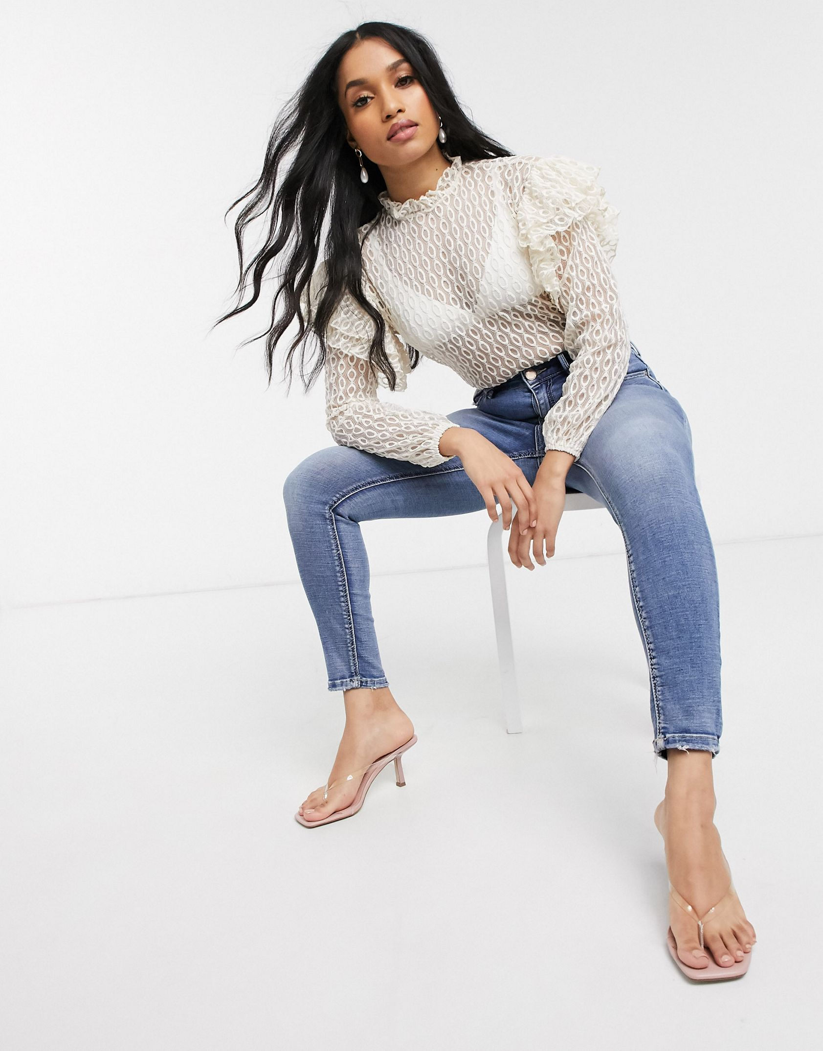 River Island Petite long sleeve high neck lace blouse in cream - ASOS Price Checker
