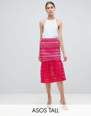 Кружевная юбка миди с оборкой на подоле ASOS TALL