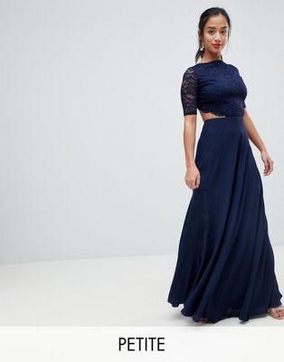 Кружевное платье макси с открытой спиной John Zack Petite