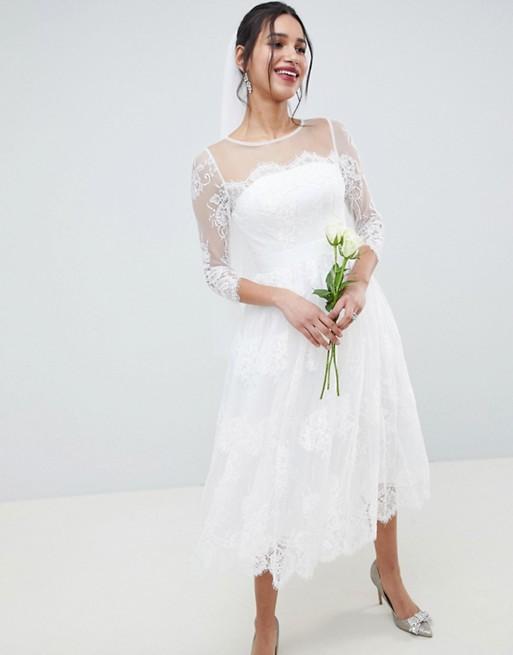 Кружевное платье миди с длинными рукавами ASOS EDITION Wedding