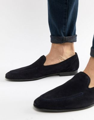 Kurt Geiger London Palermo Suede Loafers In Navy