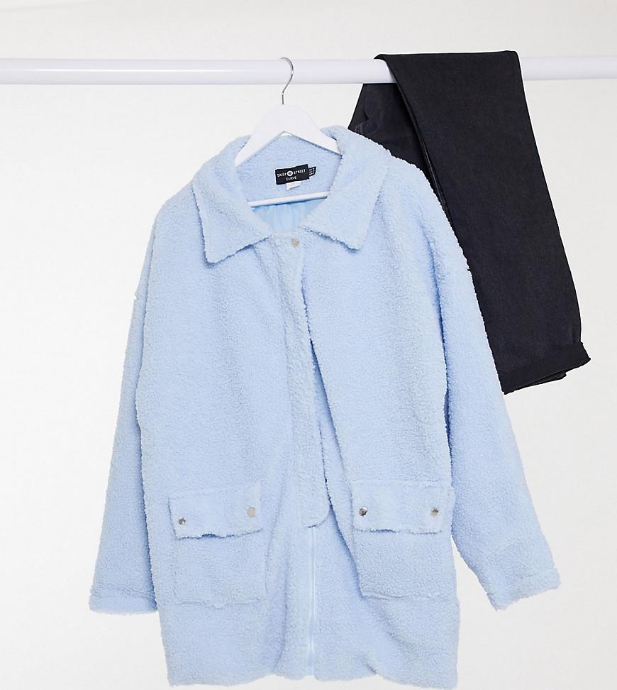 Куртка дальнобойщика из фактурного флиса с деталями на карманах Daisy Street Plus-Синий