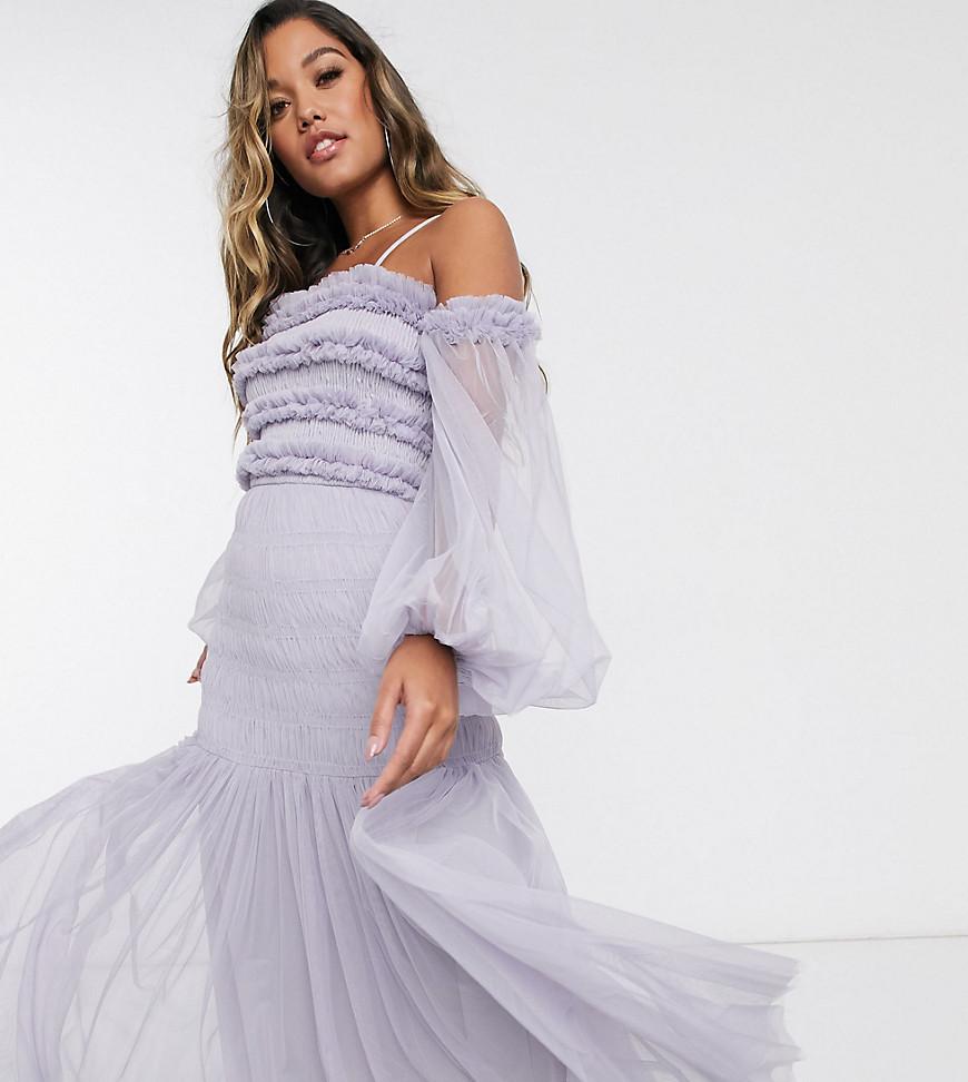 Lace & Beads - bardot flæse maxikjole med gennemsigtige ballonærmer i lillagrå