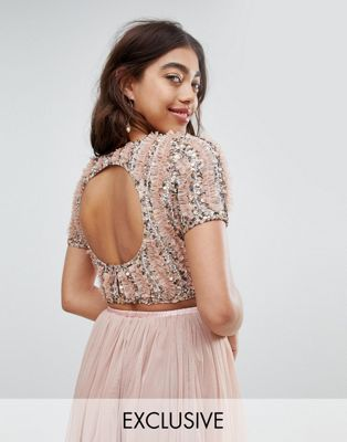 Lace & Beads cropped top with ruffle embellishment and open back co-ord