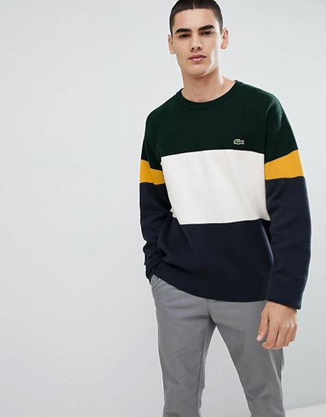 Lacoste crew neck block stripe sweater in navy