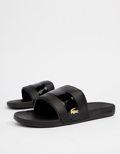 0b02b6726 Lacoste Fraisier Gold Croc Sliders In Black