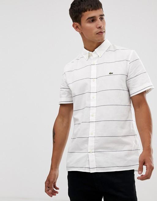 Afbeelding 1 van Lacoste - Gestreept oxford overhemd met korte mouwen in wit