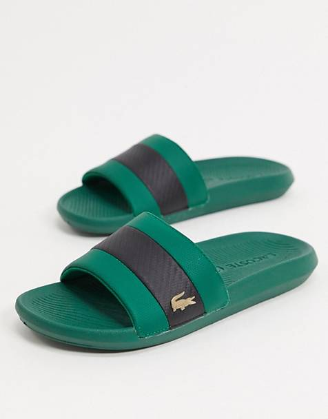 Lacoste gold croc sliders in green