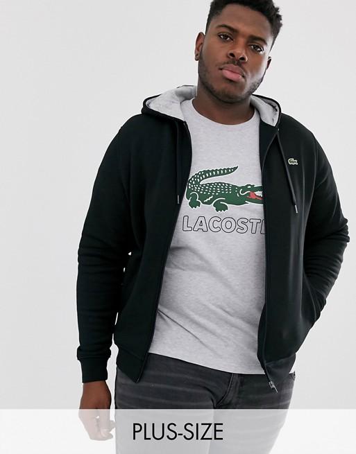 Lacoste logo full zip hoodie in black