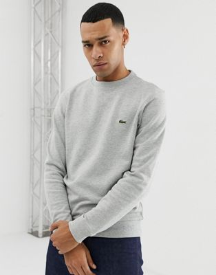Image 1 of Lacoste logo taped crew neck sweat in grey
