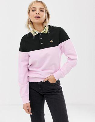 Bild 1 von Lacoste x Opening Ceremony – Sweatshirt mit Blockfarben und Kroko-Print am Kragen
