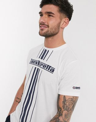 Lambretta multi stripe branded t-shirt
