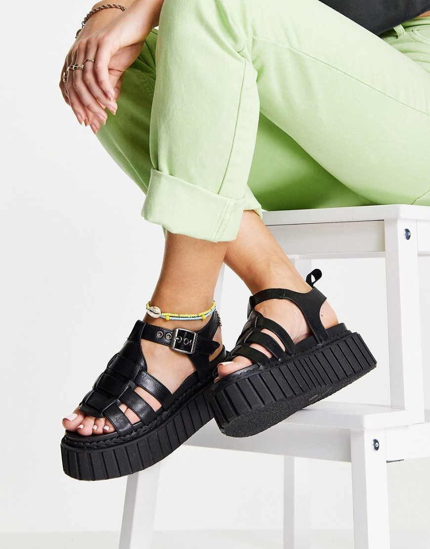 chunky flatform sandals in black