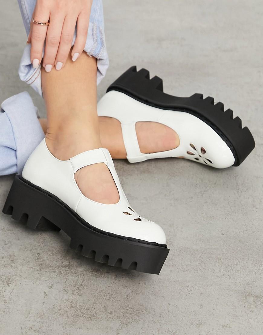 Lamoda - Chunky sko med T-formet snit i hvid lak