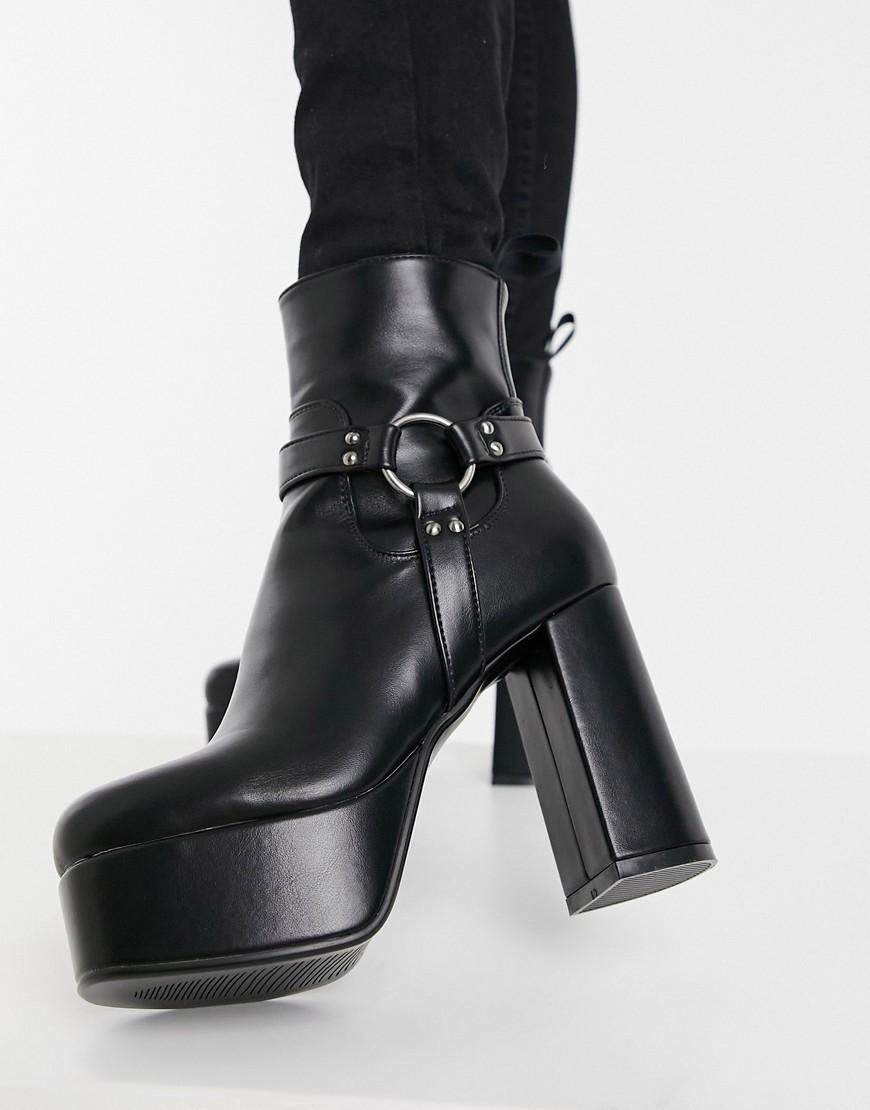 Lamoda - Sorte plateau-støvler med seledetaljer