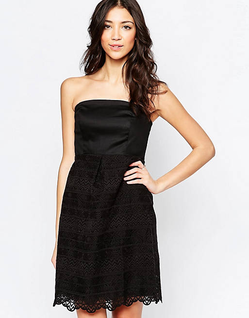 Lavand Bandeau Dress With Lace Skirt