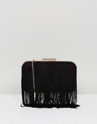 Lavand – kuvertväska i struktur med frans