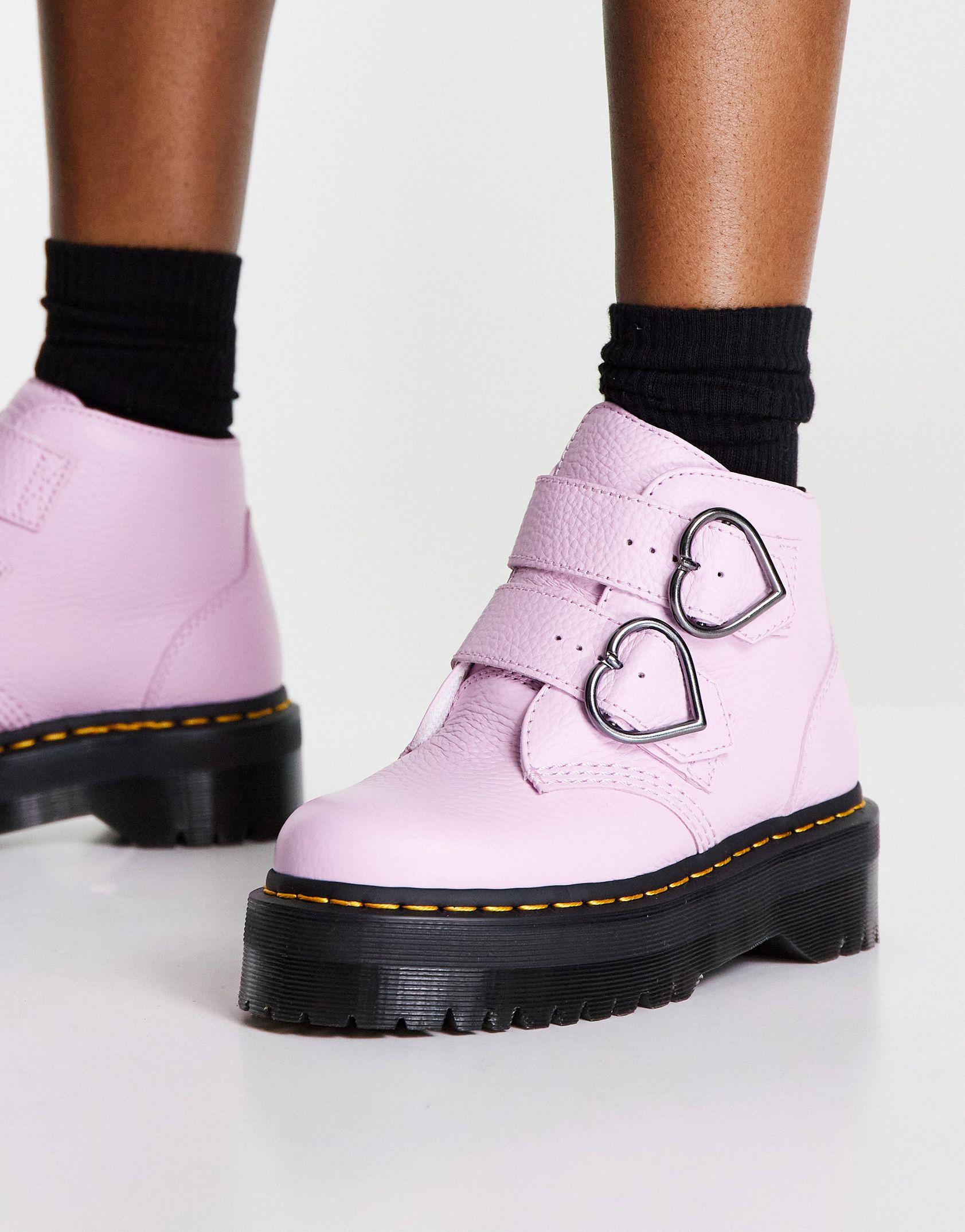Dr Martens Devon Heart boots in lavender -  Price Checker