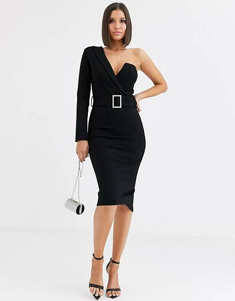 Lavish Alice one sleeve tux midi dress with belt in black