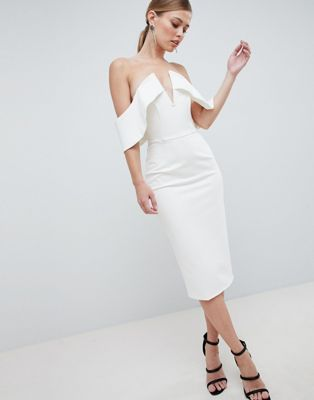 Lavish Alice Plunge Front Bandeau Midi Dress