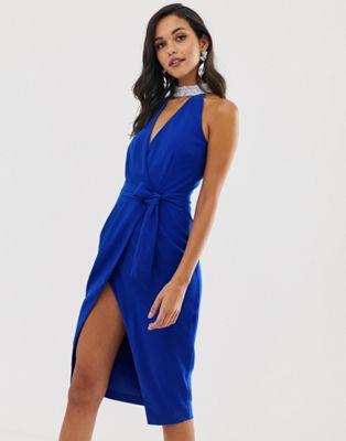 Image 1 of Lavish Alice silver iridescent sequin choker neck wrap midi dress in cobalt blue