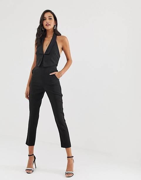 Lavish Alice – Zweilagiger Tuxedo-Jumpsuit mit Satinrevers in Schwarz
