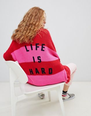 Lazy Oaf life is hard cardigan