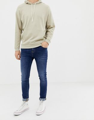 LDN DNM super skinny spray on jeans in washed indigo