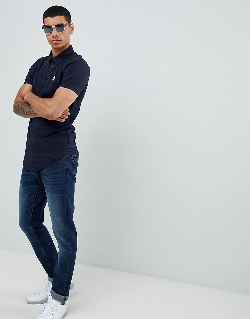 Le Breve Curved Hem Polo With Back Panelling by Polo Shirt