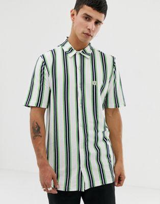 Le Breve – Randig skjorta med korta ärmar