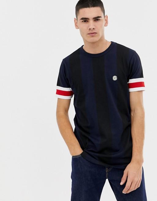 Bild 1 av Le Breve – Randig t-shirt med kantade ärmslut